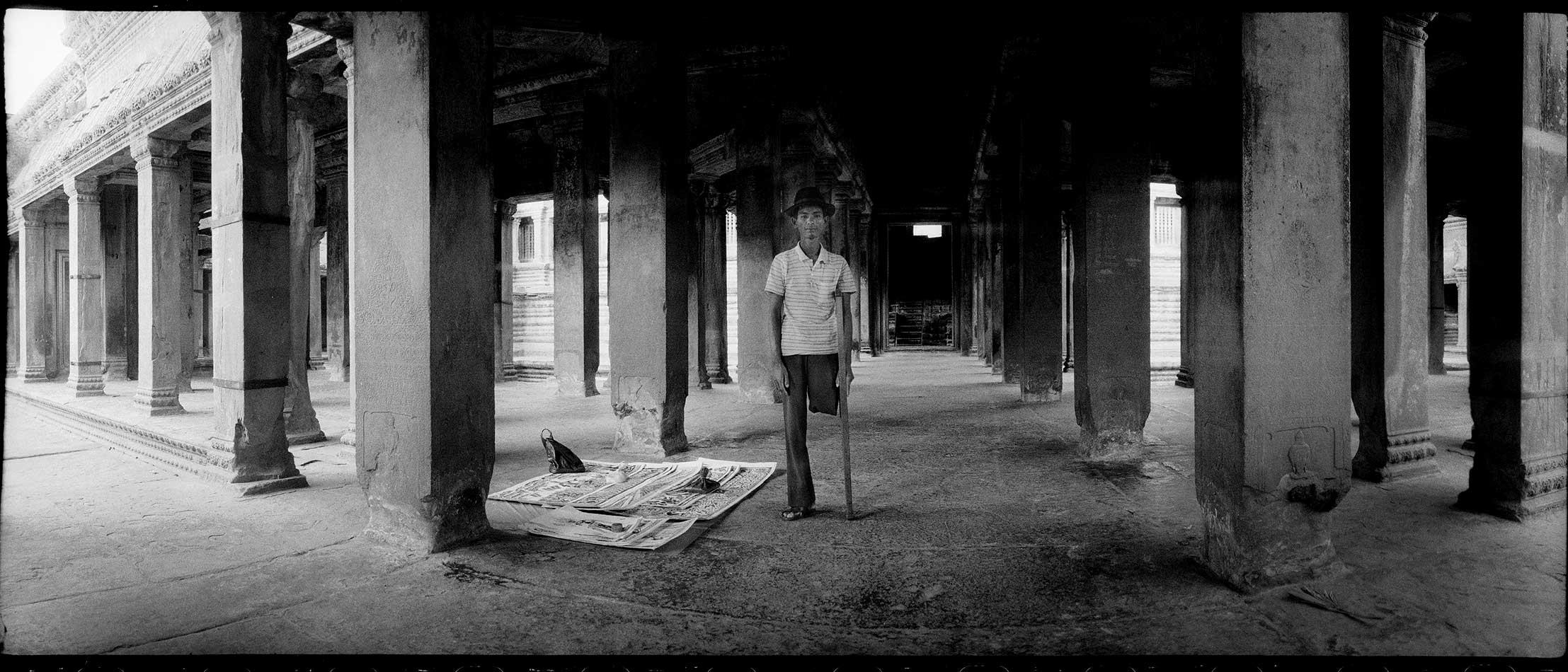 Mine Victim lost leg Angkor Wat Cambodia